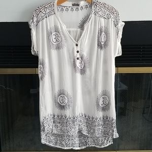 Patterned tunic, white and navy